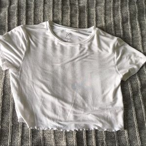 PacSun Lettuce Edge Crop Top (White)